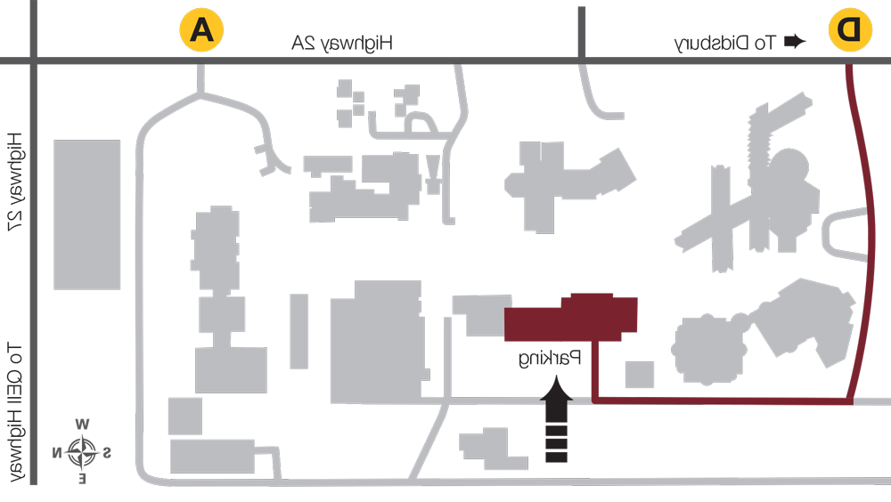 Map of where the meat store is located on campus